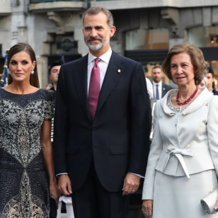 Spanish Kings Felipe VI and Letizia and Queen Sofia of Greece during the Princess of Asturias Awards 2018 in Oviedo, on Friday 19 October 2018