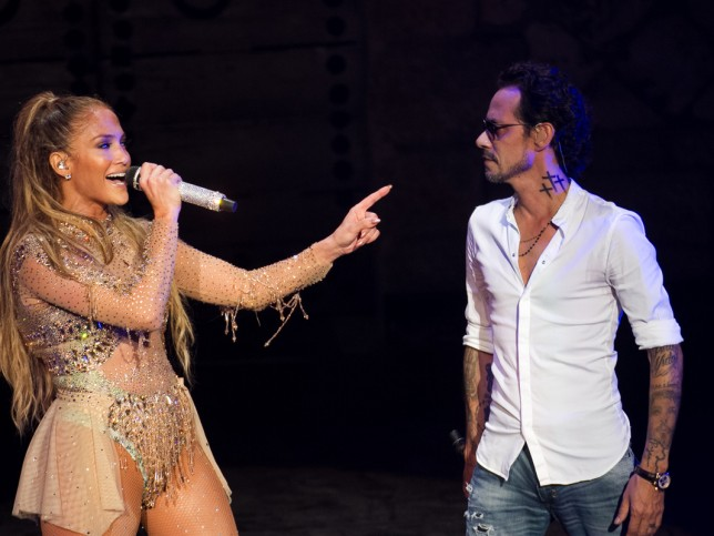 Actress and singer Jennifer Lopez and Marc Anthony performing during concert in Dominican Republic on Saturday April 15.