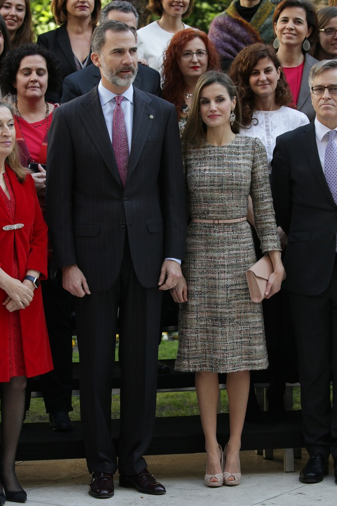 Kings Felipe VI and Letizia of Spain during the inauguration of the exhibition