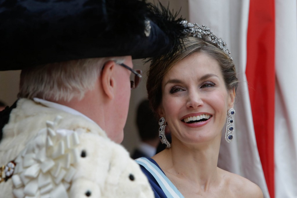 Spanish Queen Letizia with Andrew Parmley during gala dinner on occasion for her official visit to United Kingdom in London on Thursday on 13 July 2017. On the second day of their 3 day tour of United Kingdom