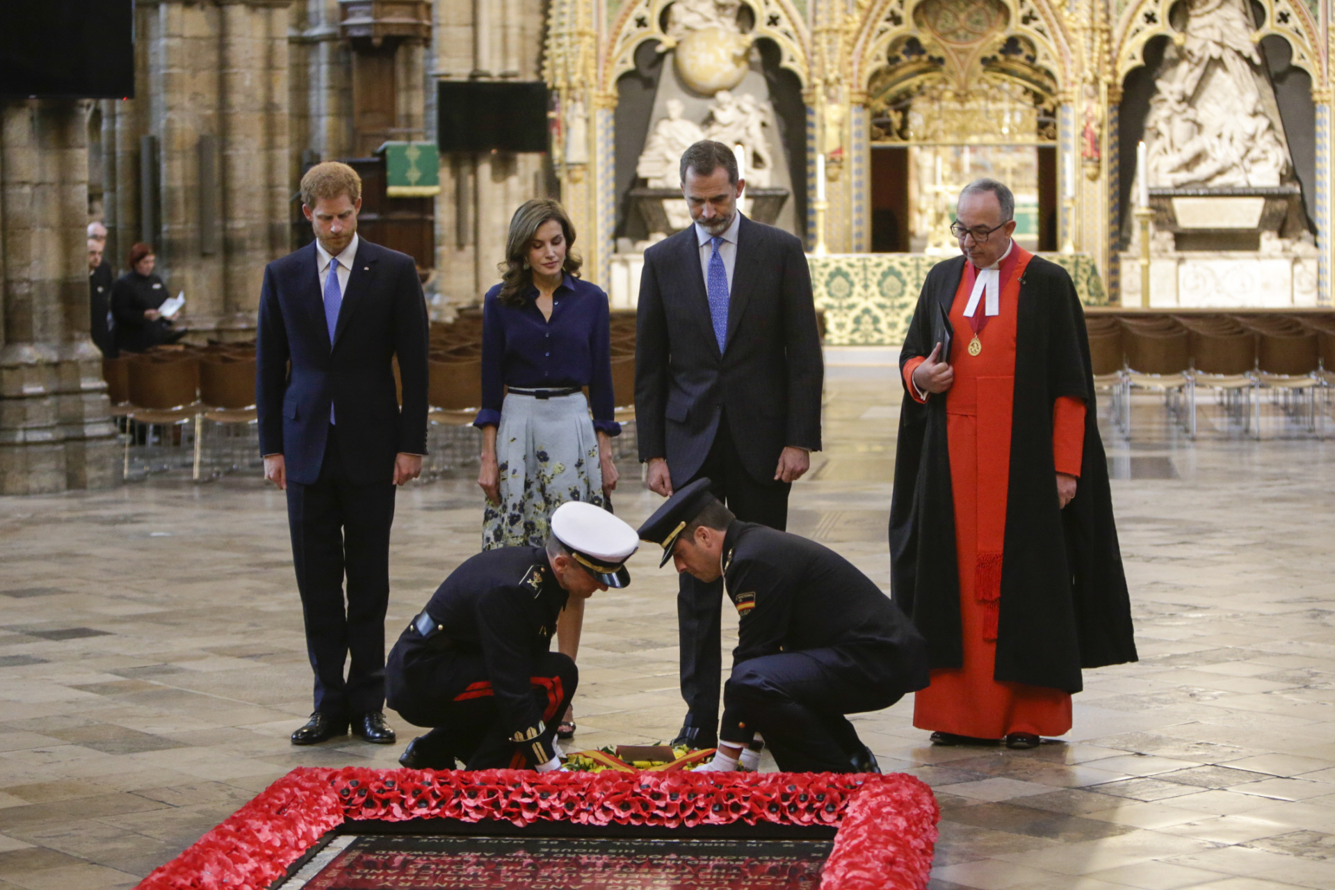 Spanish King Felipe VI and Queen Letizia visit to the Field of Remembrance at Westminster Abbey on occasion for their official visit to United Kingdom in London on Thursday on 13 July 2017. On the second day of their 3 day tour of United Kingdom