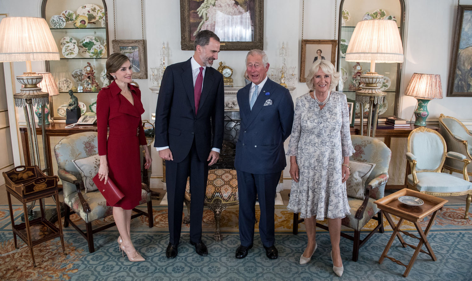 (Left to right) Queen Letizia of Spain, King Felipe VI, the Prince of Wales and the Duchess of Cornwall at Clarence House, London, during the King's State Visit to the UK.