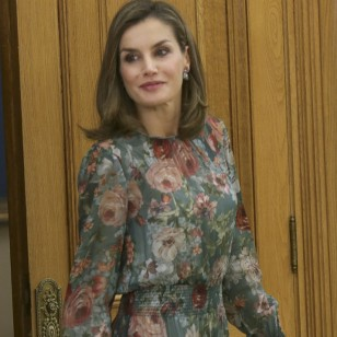 "Spanish Queen Letizia during a hearing with the representation of the members of ""Confederacion Nacional de Federaciones y Asocaciones de Familias y Mujeres del Medio Rural (AFAMMER)"" in the ZarzuelaPalace in Madrid on Tuesday 17 October 2017"