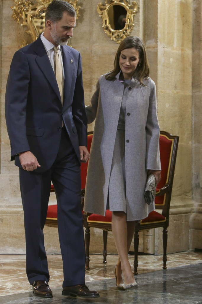 Spanish Kings Felipe VI and Letizia during visit to RealBasilica Santuario de la Vera Cruz on occasion of the Caravaca de la Cruz jubilee year on Tuesday 28 November 2017 , Murcia.