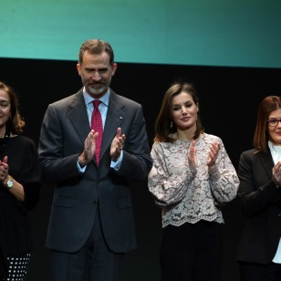 Spanish Kings Felipe VI and Letizia Ortiz at the Innovation and Design Awards 2018 in Madrid Monday, Feb. 12, 2018.