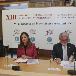 "Spanish Queen Letizia and politician Jose Ignacio Ceniceros during the Inauguration of the 13 edition International Seminar on Language and Journalism "" El lenguaje en la era de la posverdad "" in San Millan de la Cogolla, La Riojaon Tuesday , 29 May 2018"