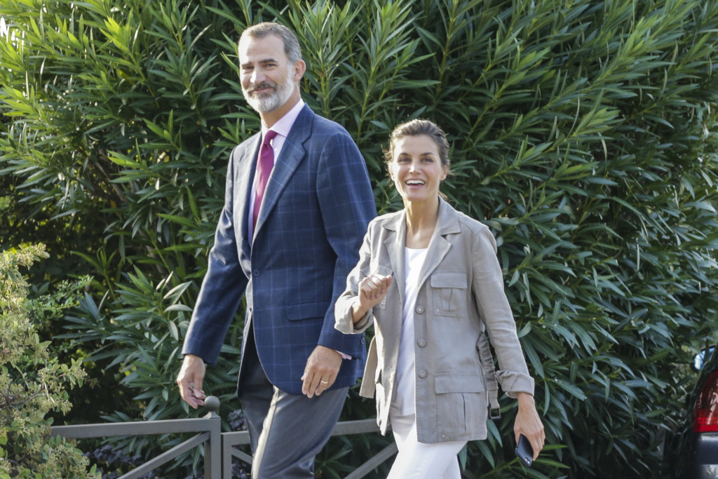 Spanish Kings Felipe VI and Letizia Ortiz during the first day of SantaMariadelosRosales school 2018 / 2019 in Madrid on Thursday , 11 September 2018