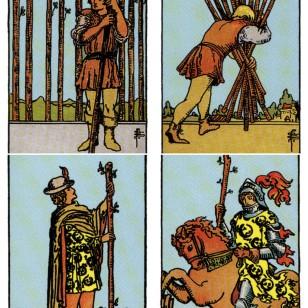 Significado de las cartas del tarot: 9 de bastos, 10 de bastos, paje de bastos y caballero de bastos