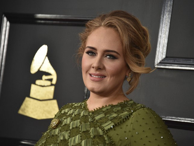 Singer Adele at the 59th annual Grammy Awards on Sunday, Feb. 12, 2017, in Los Angeles.