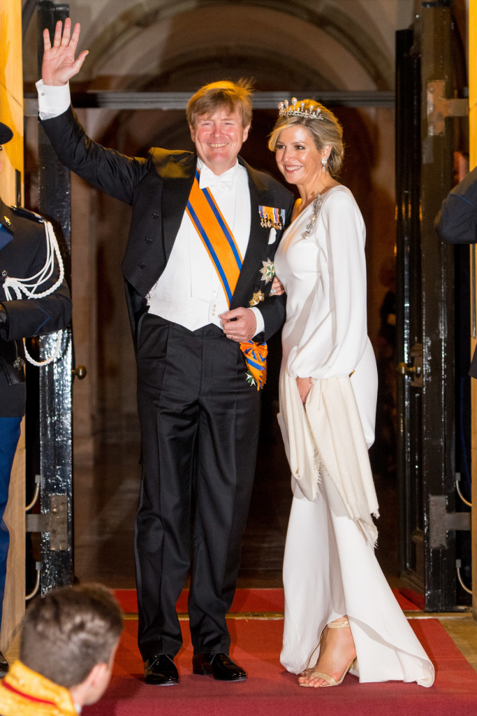 Queen Maxima and King Willem Alexander depart from the Diplomatic Corps Gala Dinner at the RoyalPalace of Amsterdam