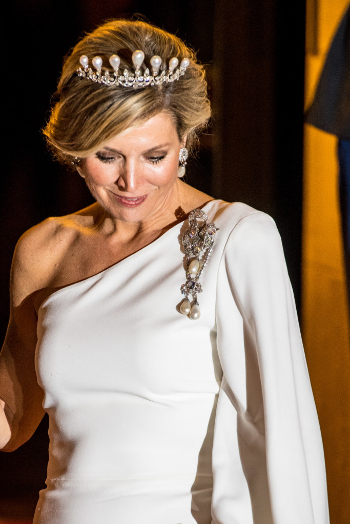 Queen Maxima depart from the Diplomatic Corps Gala Dinner at the RoyalPalace of Amsterdam