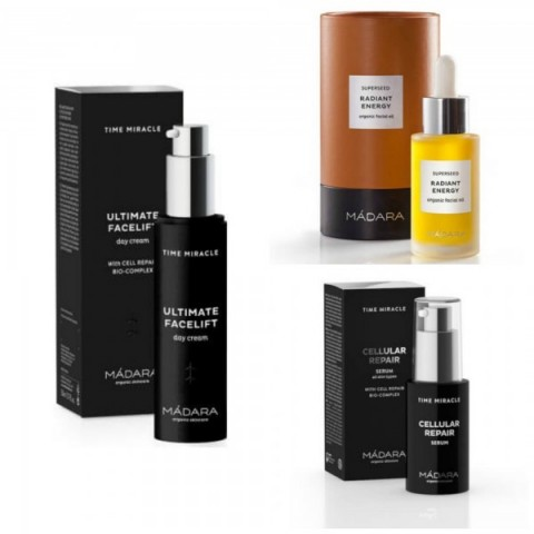 Mádara. Ultimate Facelift Day Cream (49 €). Sérum Facial Superseed Iluminador Radiant Energy (44 ). Sérum Reparador Celular Time Miracle (46 )
