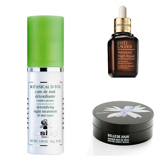 Nocturnos: Tratamiento desintoxicante Botanical D-Tox de Sisley (174,50 €). Suero Advanced Night Repair de Estée Lauder (78 €). Mascarilla nocturna reparadora e hidratante Belle de Jour Mascarilla Noche de Ensueño de Kenzoki (64 €).