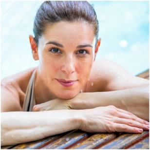 Raquel Sánchez Silva, en el spa del Club Metropilitan, durante una sesión de fotografías para la revista Mujerhoy